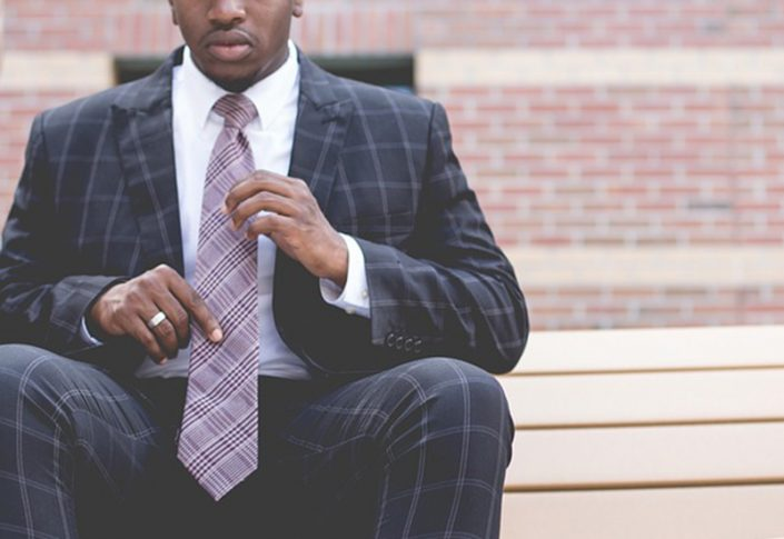 Using your shirt as a blank canvas in a muted colour, work your necktie with a dark base and pop of colour to match with the colours on your suit.